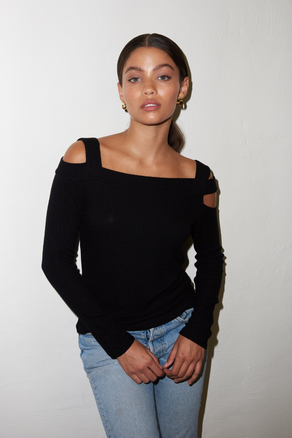 LNA Ginger Cutout Shoulder Top in Black