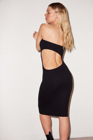 LNA Madelynn Rib Cutout Dress in black
