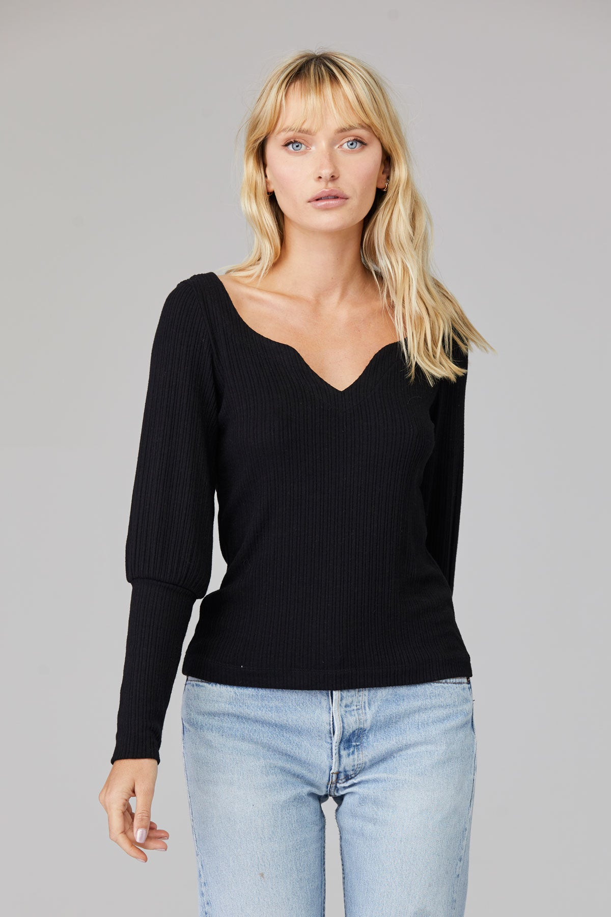 LNA Ribbed Sharon Top in Black with balloon sleeve