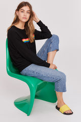 LNA Brushed Roller Sweater in black with Rainbow Stripe