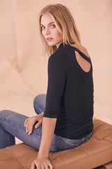 LNA Something About You Back Cutout Top in Black