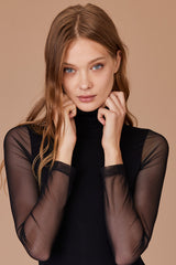 LNA Lipa Turtleneck Top with Mesh Sleeves in Black