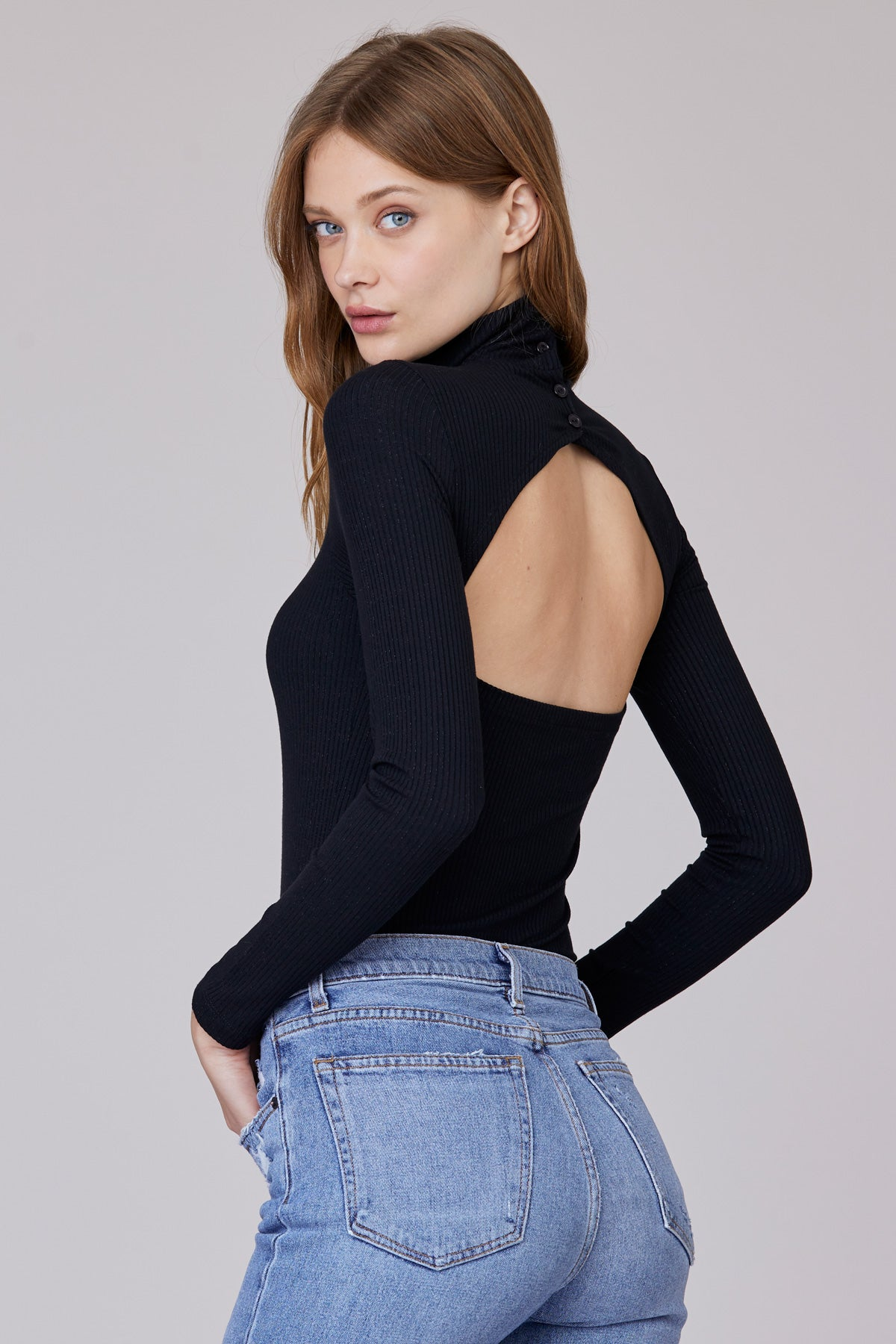 LNA Ulla Rib Long Sleeve black cutout top