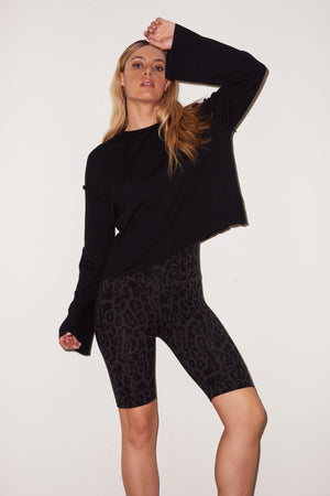 LNA Otis Waffle Long Sleeve Top in Black