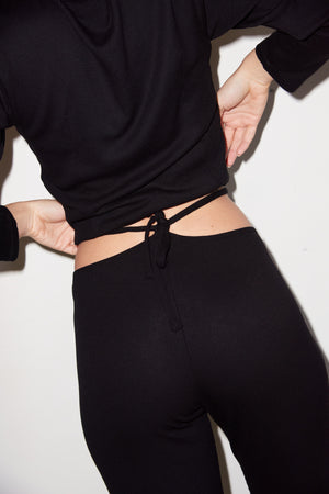 LNA Wrap Tie Waist Jogger in Black