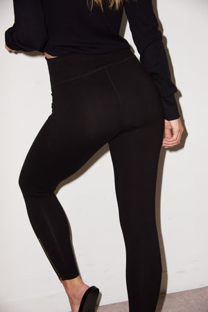 LNA Black High Rise Zipper Legging