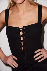 LNA Black Alina Ribbed Tank with Lace Up Front