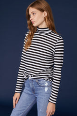 LNA Striped Long Sleeve Turtleneck in Black and White