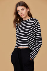 LNA Honey Black and White Striped Long Sleeve Tee