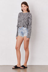 LNA Snow Leopard Nat Long Sleeve in black and white leopard print