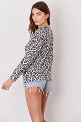LNA Brushed Leopard Print Phased Sweater in Black and White Leopard