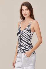 LNA Tie Dye Wylie Cami in black and white tie dye