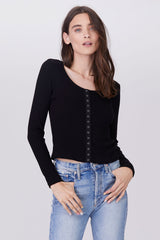 LNA Ribbed Caterina Top with button front in black