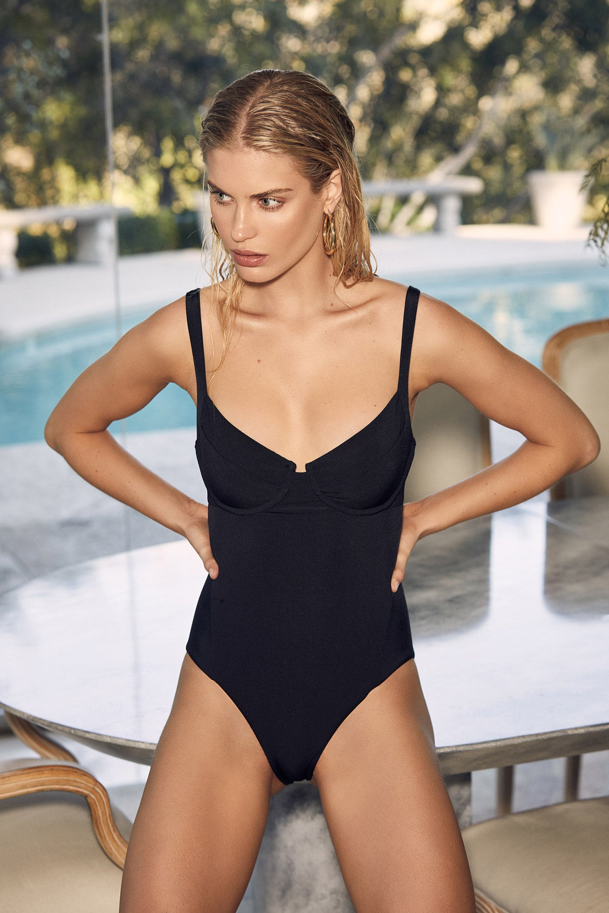 LNA Black Pelicano Rib One Piece with underwire