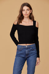 LNA Celia Top in Black with shoulder cutouts