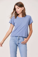 LNA Essential Cotton Shaden Crew Neck Tee in Flint Stone Blue