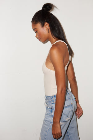 LNA Ribbed Skinny racer in bone