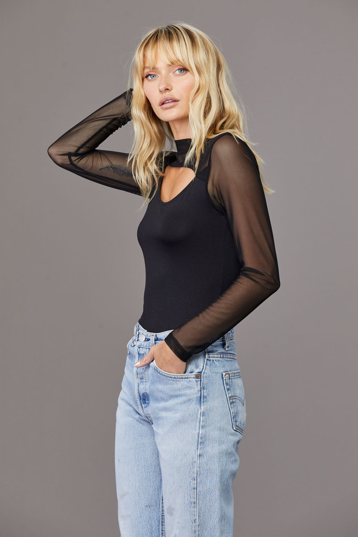 LNABound Mesh Long Sleeve Cutout Top