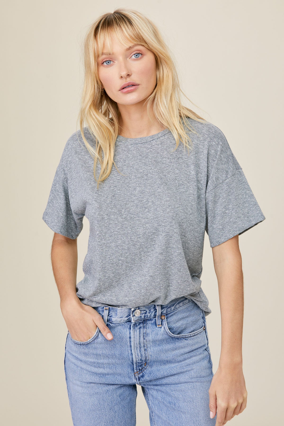LNA Boxy Crew Neck Tee in Heather Grey