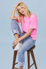 LNA Clothing Boxy Crew Tee in Neon Pink