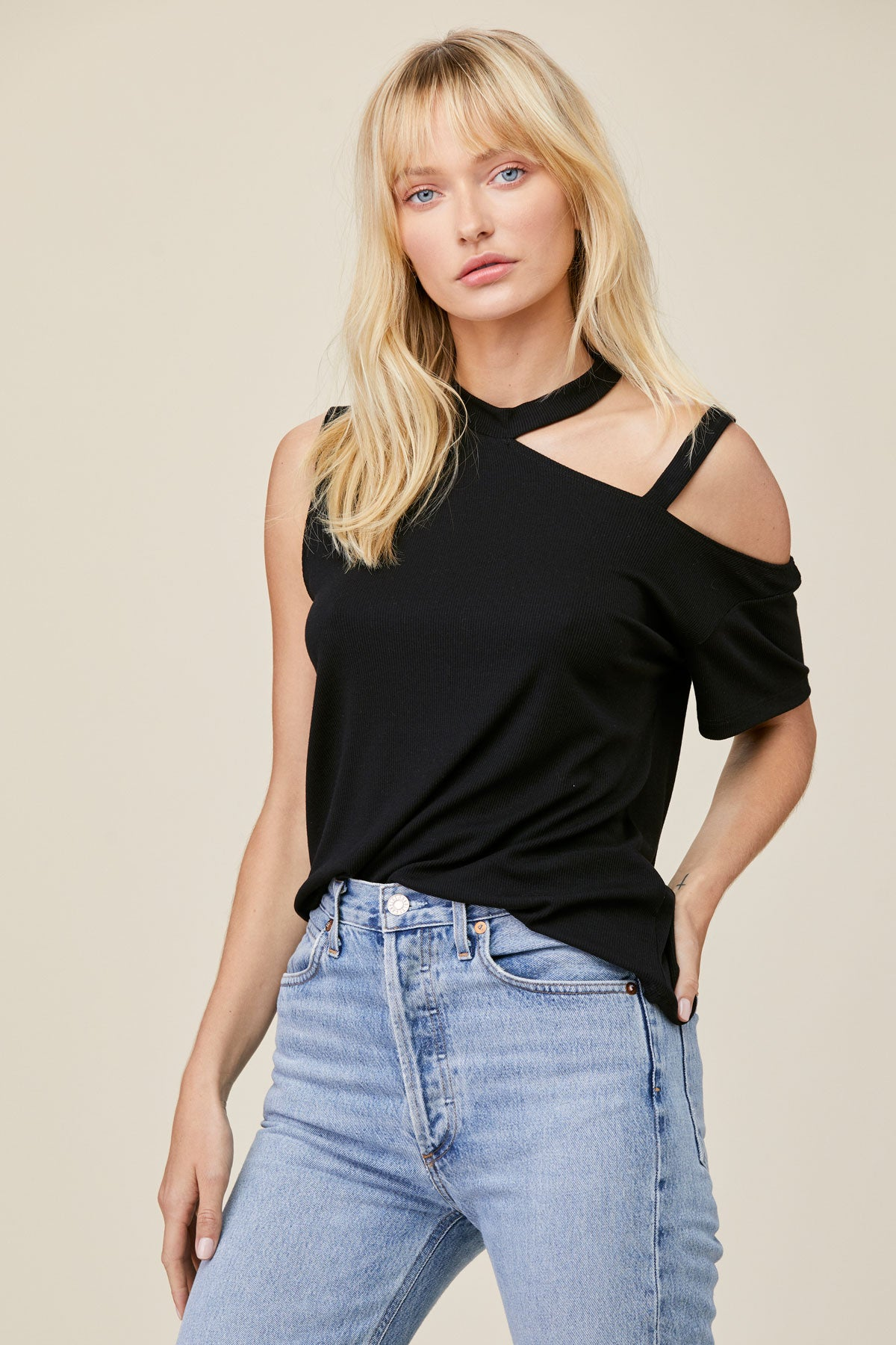 LNA Clothing Brantley Rib Cutout Top in Black