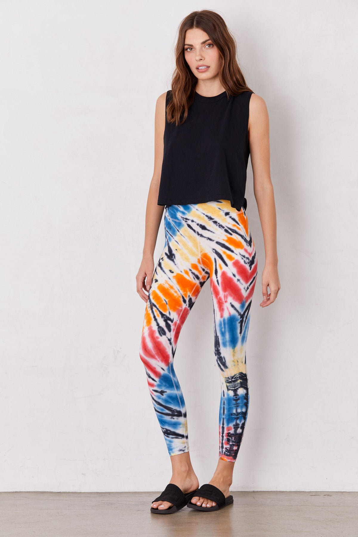 LNA Bright Rainbow Tie Dye Castor High Waist Leggings
