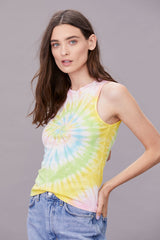LNA Bright Tie Dye Fitted Tank