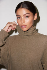 Brushed Aliza Turtleneck - Heather Olive