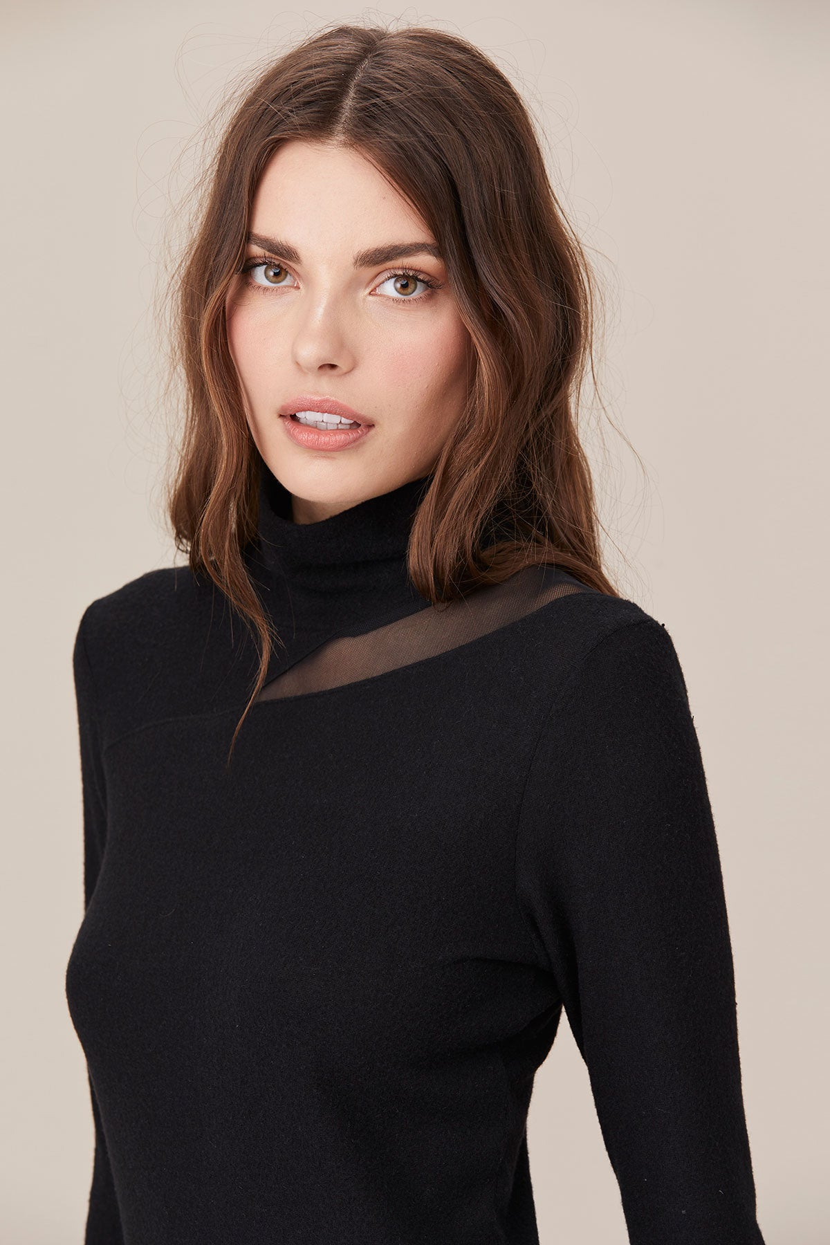 LNA Brushed Are Sheer Cutout Top in Black