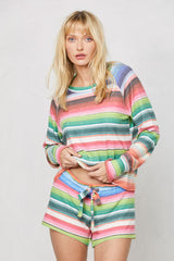 LNA Clothing Brushed Baja Short in Serape Stripe
