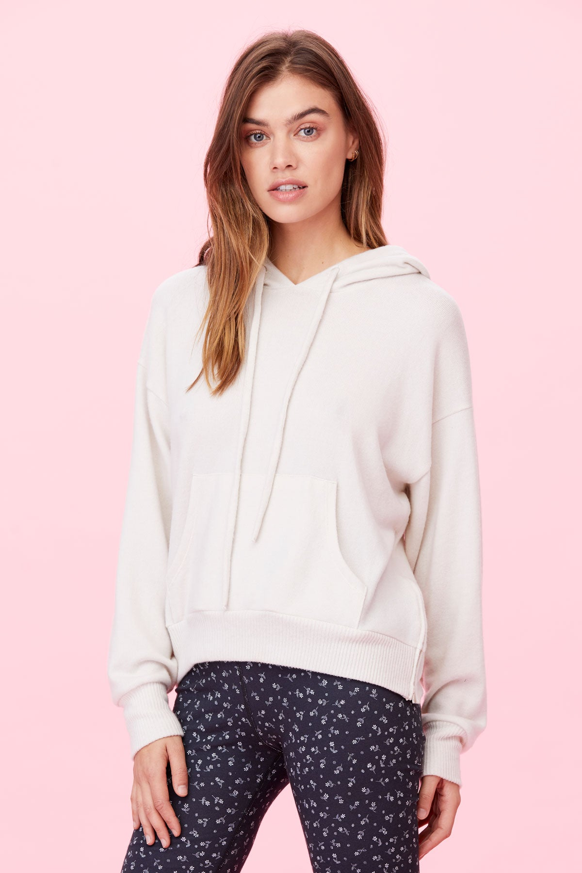 LNA Brushed By Your Side Zip Hoodie in Jet Stream