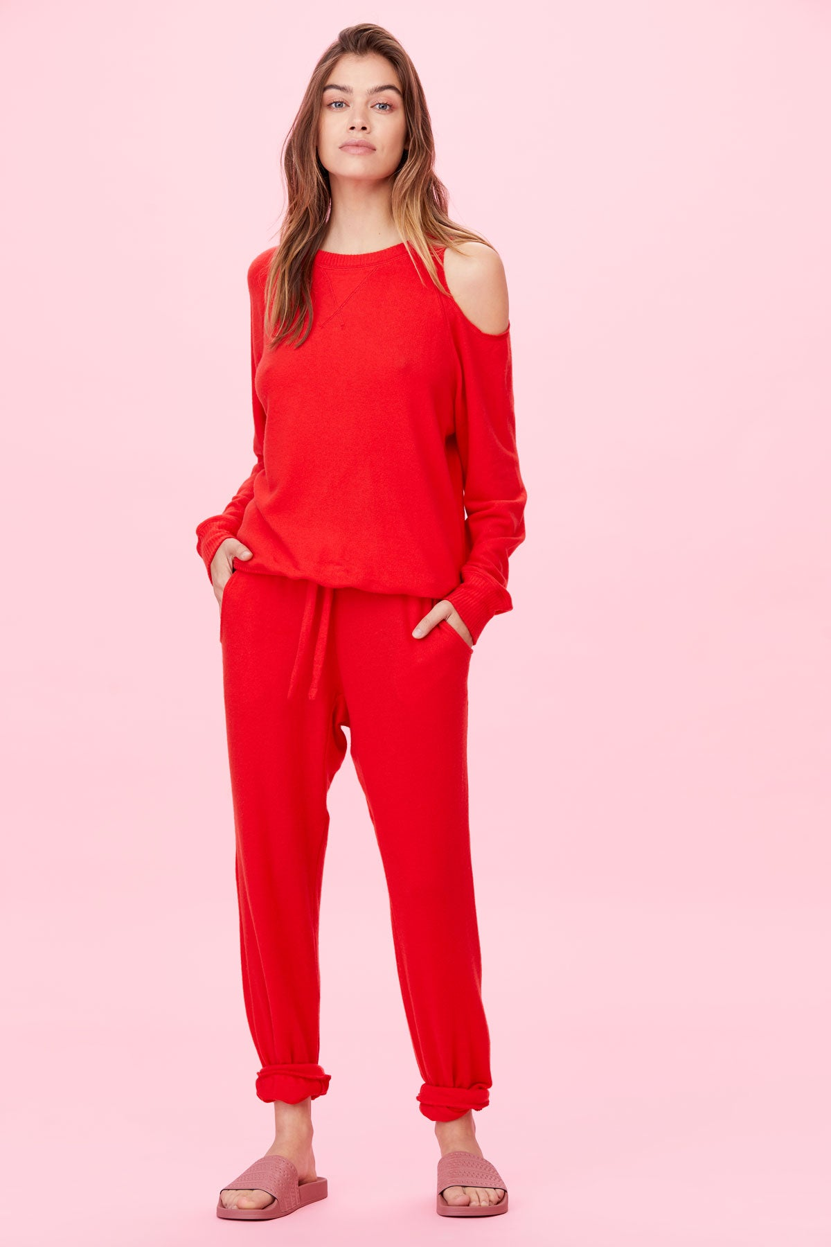LNA Brushed Cutout Heart On My Sleeve Sweater in Fiery Red