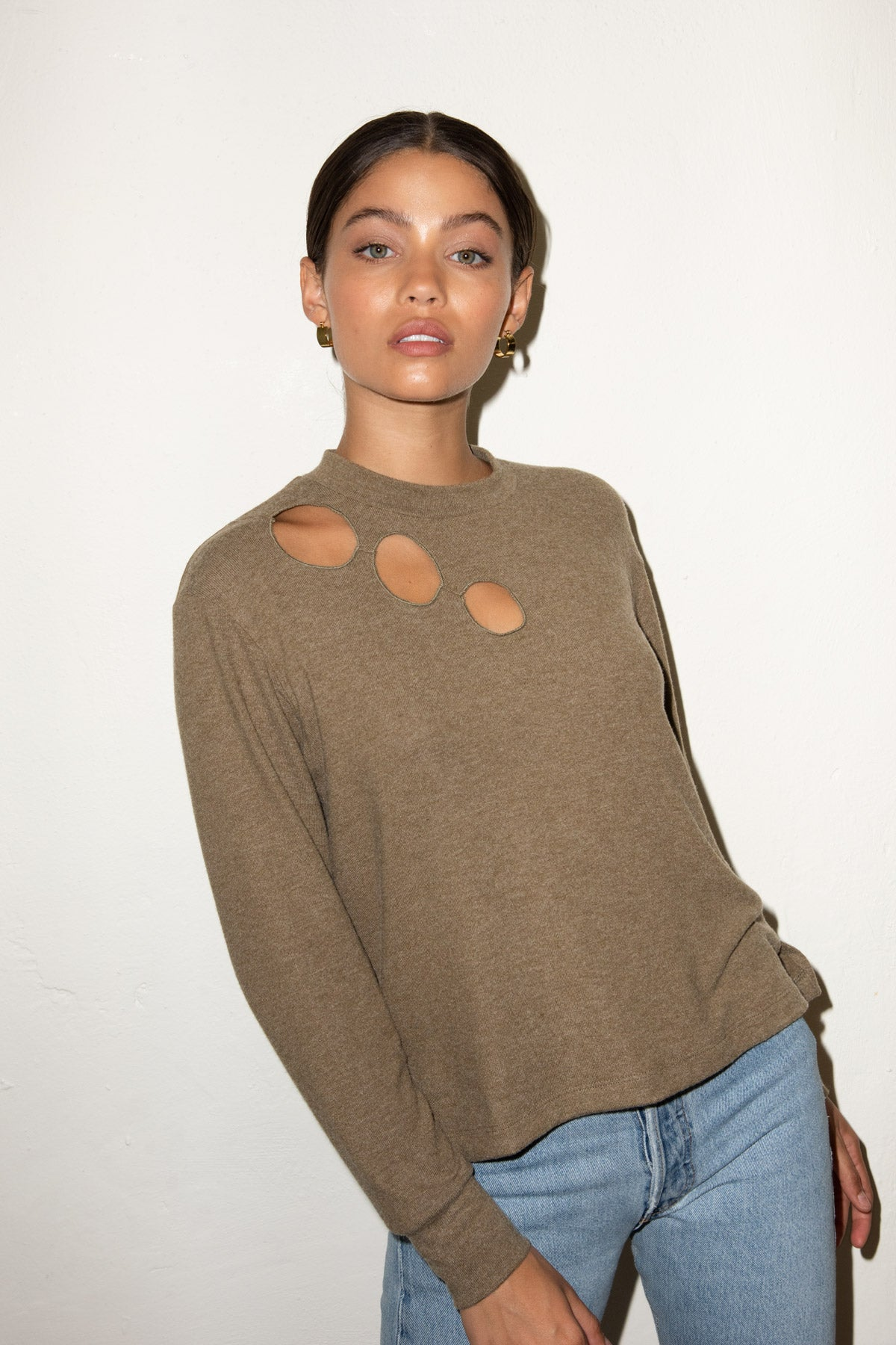 LNA Brushed Dawn Cutout Sweater in Heather Olive