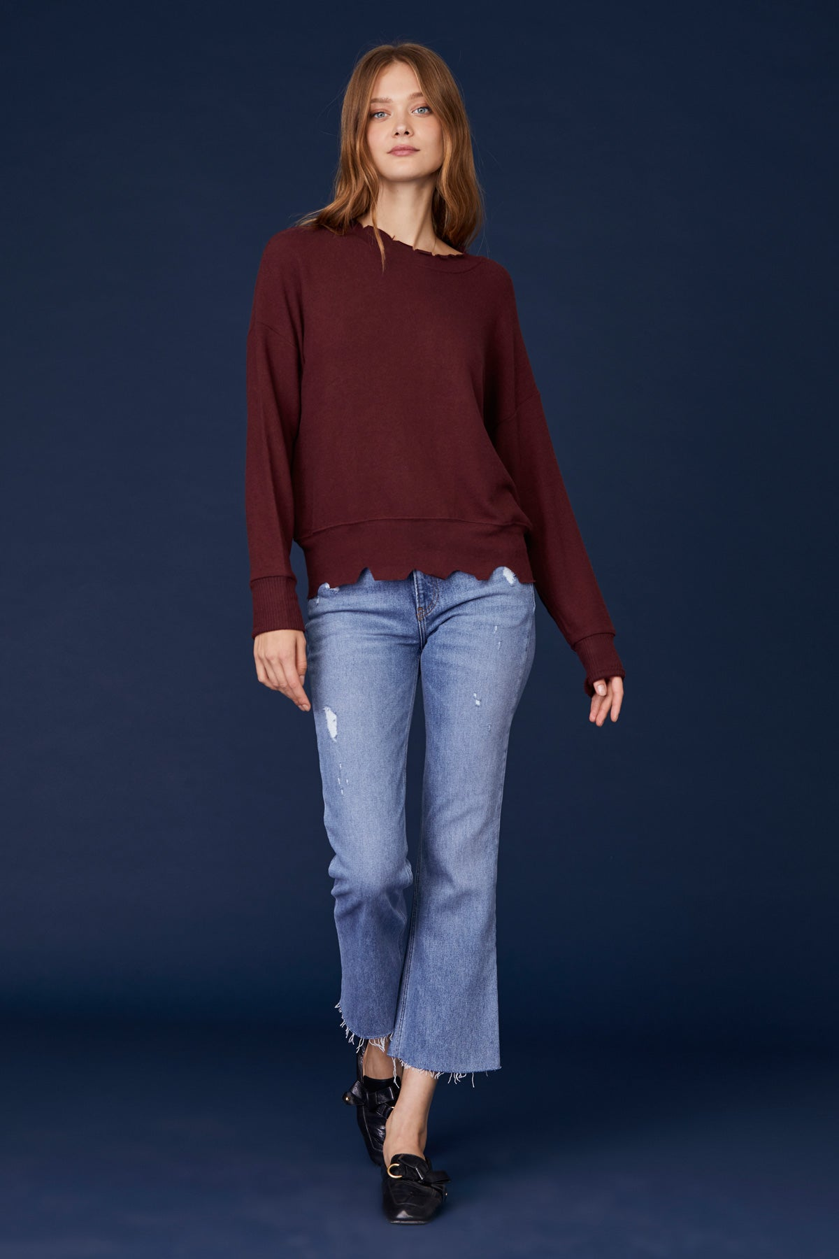 LNA Duncan Pullover sweater in heather rust