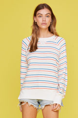 LNA Brushed Floyd Raglan Sweater with Rainbow Stripes