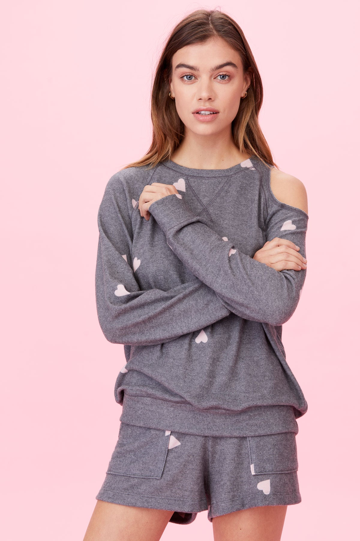 LNA Brushed Heart on My Sleeve Sweater in Grey and Pink Heart Print