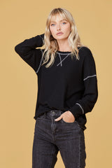 LNA Brushed Ida Sweater with contrast stitching in black