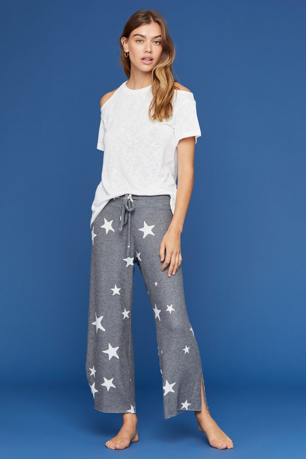 3748bac0a LNA Clothing – LNA Brushed Kismet Pant in Grey and White Star Print