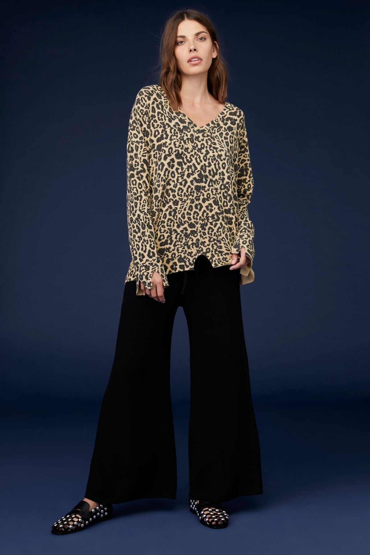 LNA Leopard V Neck Bitten Sweater