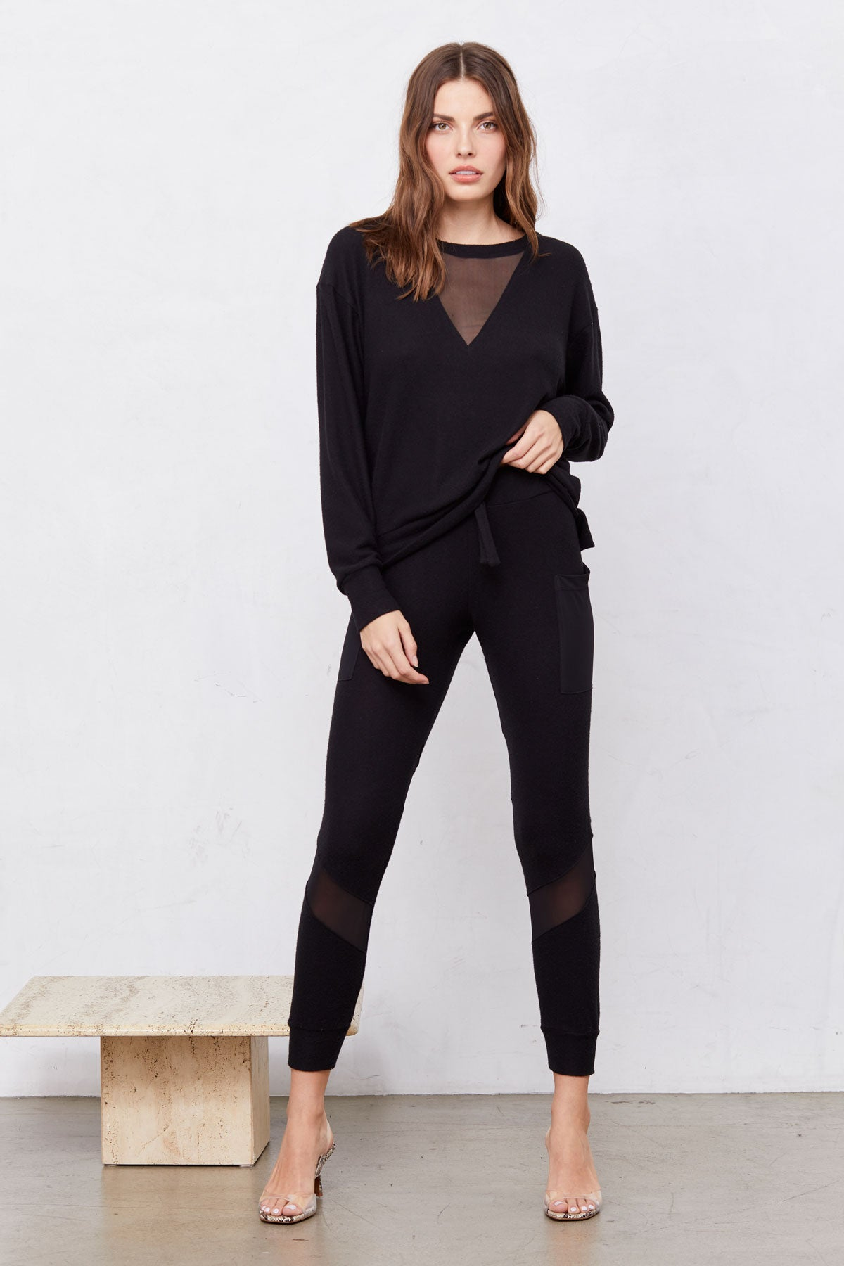 LNA Brushed Mesh Pant with Sheer Detail