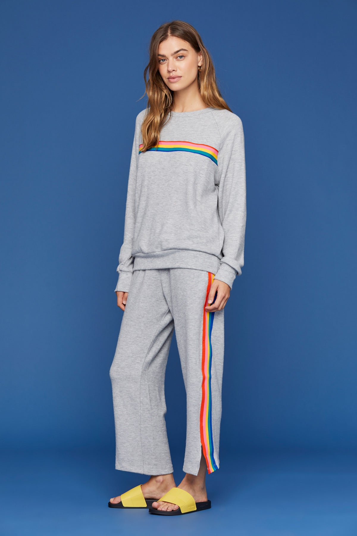 LNA Grey Brushed Miller Sweatpant with Rainbow Stripe