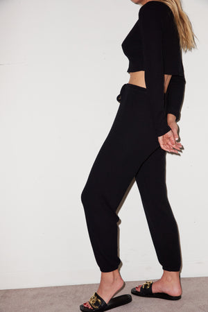 LNA Brushed Rib Pant in Black