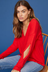 LNA Brushed Sage Sweater with Cutouts in Fiery Red