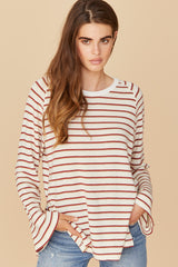 LNA Brushed Spell Sweater in Red Stripe