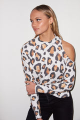 LNA Wild Cat Print Brushed Dan Sweater