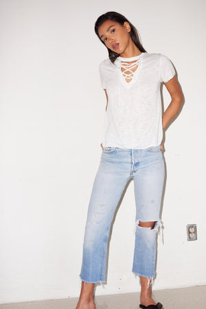 LNA Burke Lace Up Tee in White