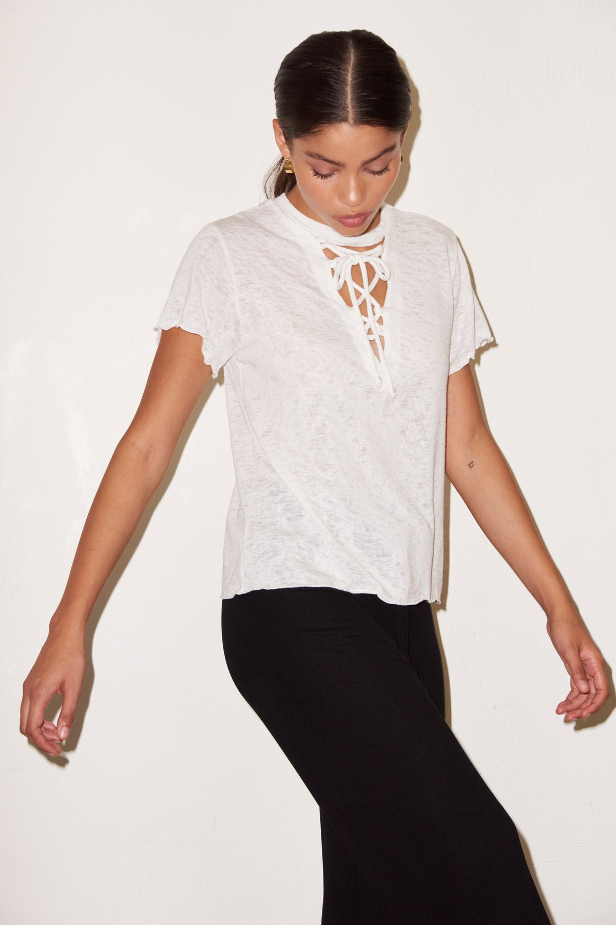 LNA White Burke Tee with Lace up front detail