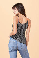 Cami Tank - Black & White Stripe