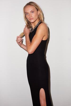 LNA Fitted Candi Dress with side slit  in Black