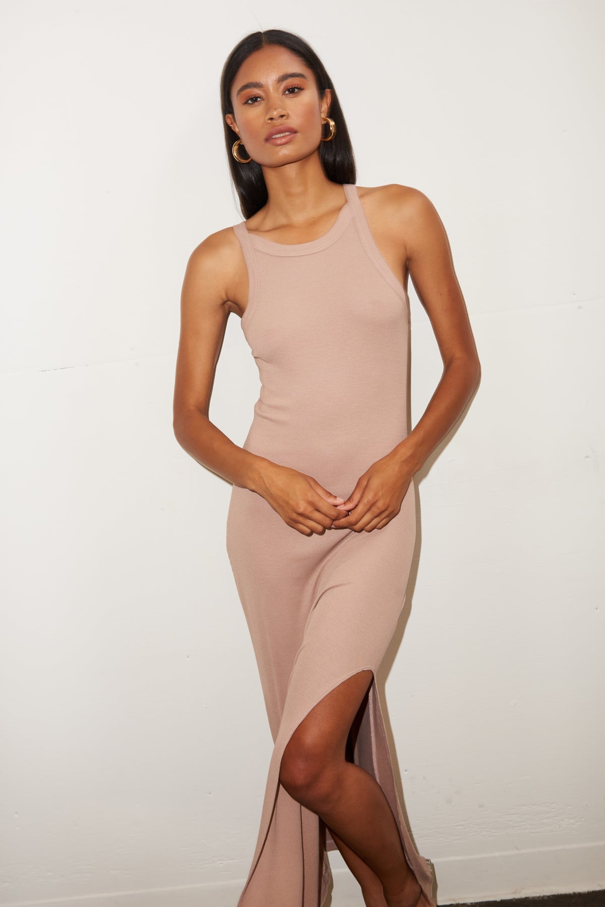LNA Candi Rib Dress in Nude